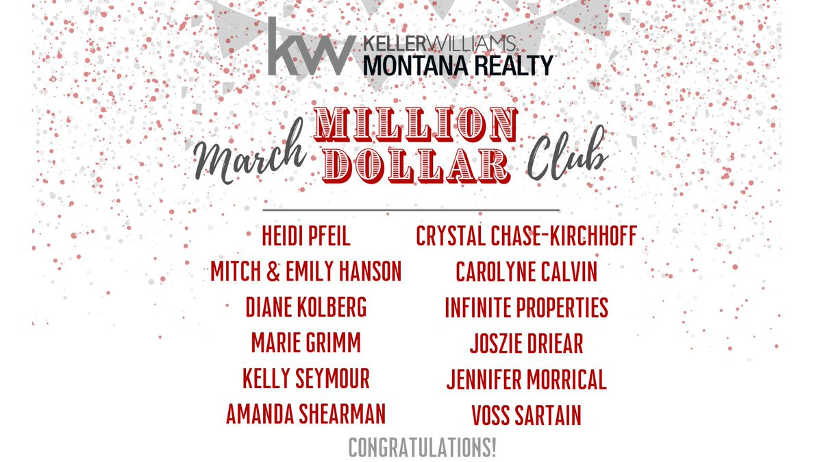 Lots of members in our Monthly Million Dollar Club for March! 🤩 Congratulations to you all!! 🥳🍾  #kellerwilliams #kellerwilliamsmontana #monthlymilliondollarclub #topproducers #bozemanrealesate #crushingit