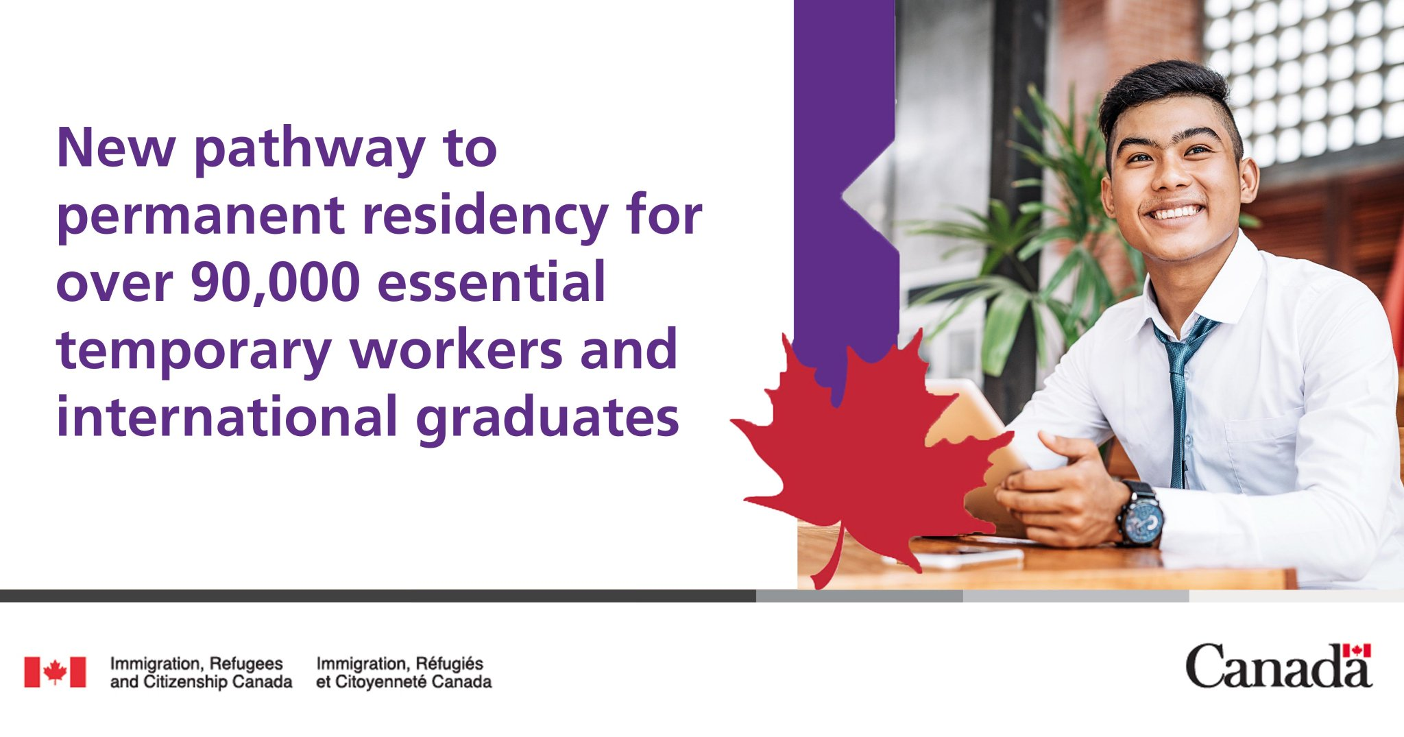 """IRCC on Twitter: """"Today Minister Mendicino announced a new pathway to permanent  residence for over 90,000 essential workers and international student  graduates who are actively contributing to Canada's economy.…  https://t.co/gdgX8X74tg"""""""