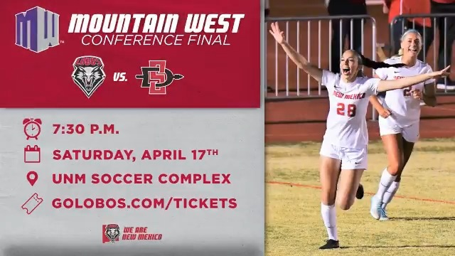 We need you to show up loud and proud on Saturday night as @UNMLoboWSoccer plays for a Mountain West title!  🎟️: https://t.co/ObZmToTbNs https://t.co/XiZs7wbCpC