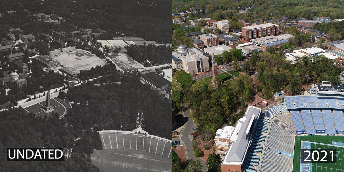 Located where Davis Library and the @CarolinaUnion sit today, Emerson Field was home to #UNC's football, track and field, and baseball teams beginning in 1916. By the late 1960s, the teams had moved to new facilities, and the Emerson Field acreage was redeveloped https://t.co/N…