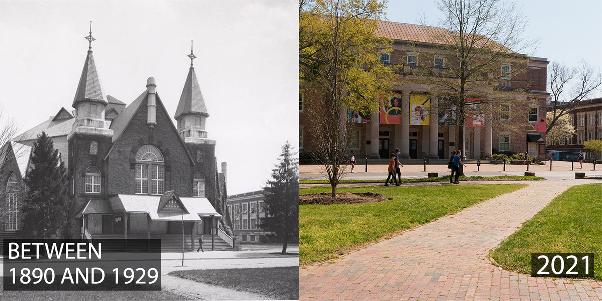 #UNC's main gathering venue – even in the 1880s – was Memorial Hall, though the building was a much different structure than we know today. Still in its same location, the original structure was deemed unsafe by inspectors and replaced by the current building in the early 1…