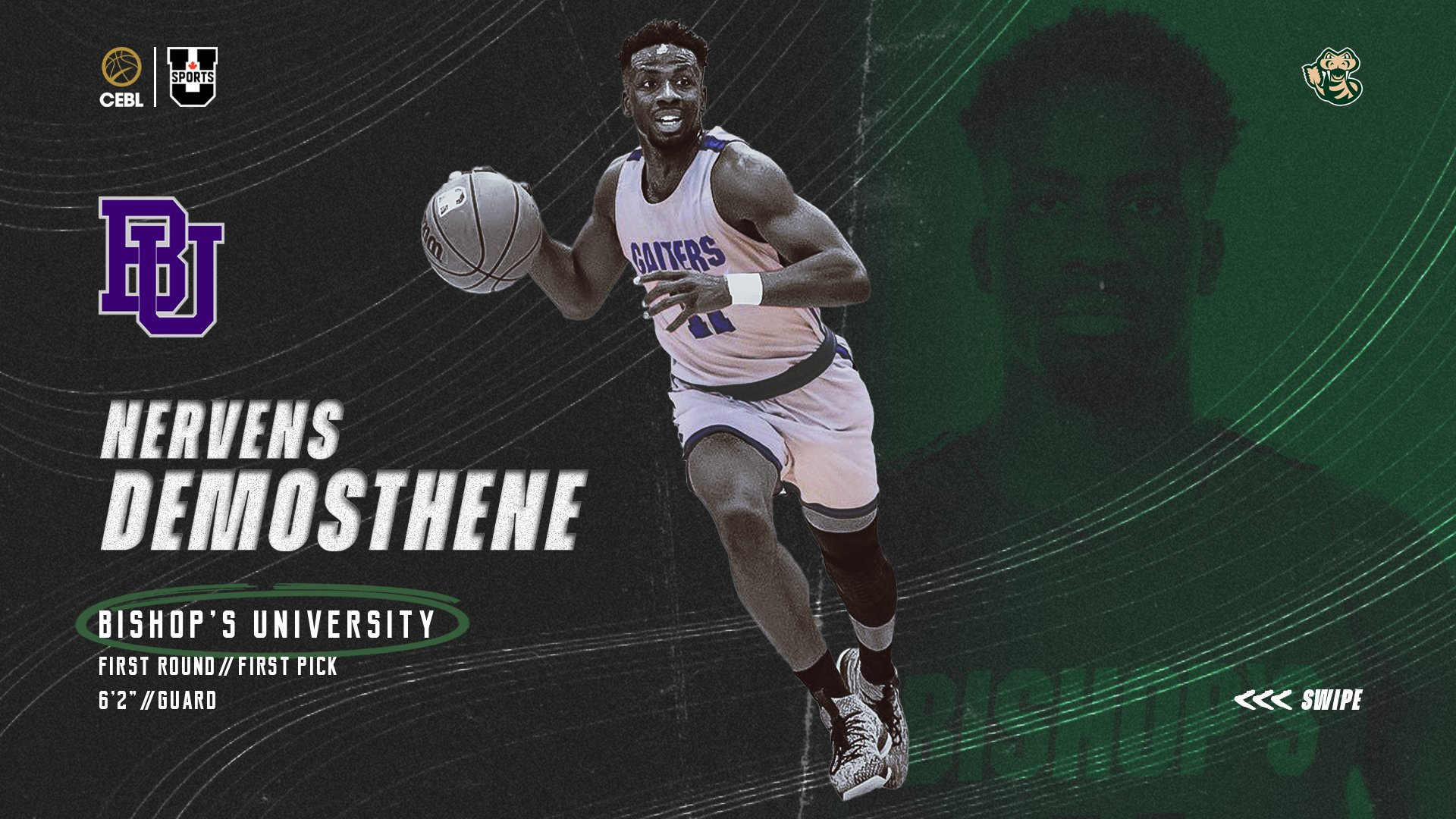 """Saskatchewan Rattlers on Twitter: """"With the first overall pick in the 2021  CEBL @USPORTSca draft, the Rattlers have selected Nervens Demosthene from  @BishopsGaiters. Demosthene was the 2017-18 RSEQ Rookie of the Year"""