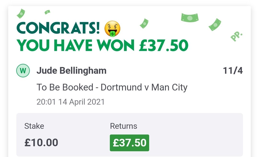 - Jude Bellingham to be booked: 11/4 ✅  A cheeky winner for @TwoPoundPunt as the main on everyone's mind also picks up a booking! 🔥  #DORMCI #UCL https://t.co/eiBbCP4WwE https://t.co/7j6l6Mzywh