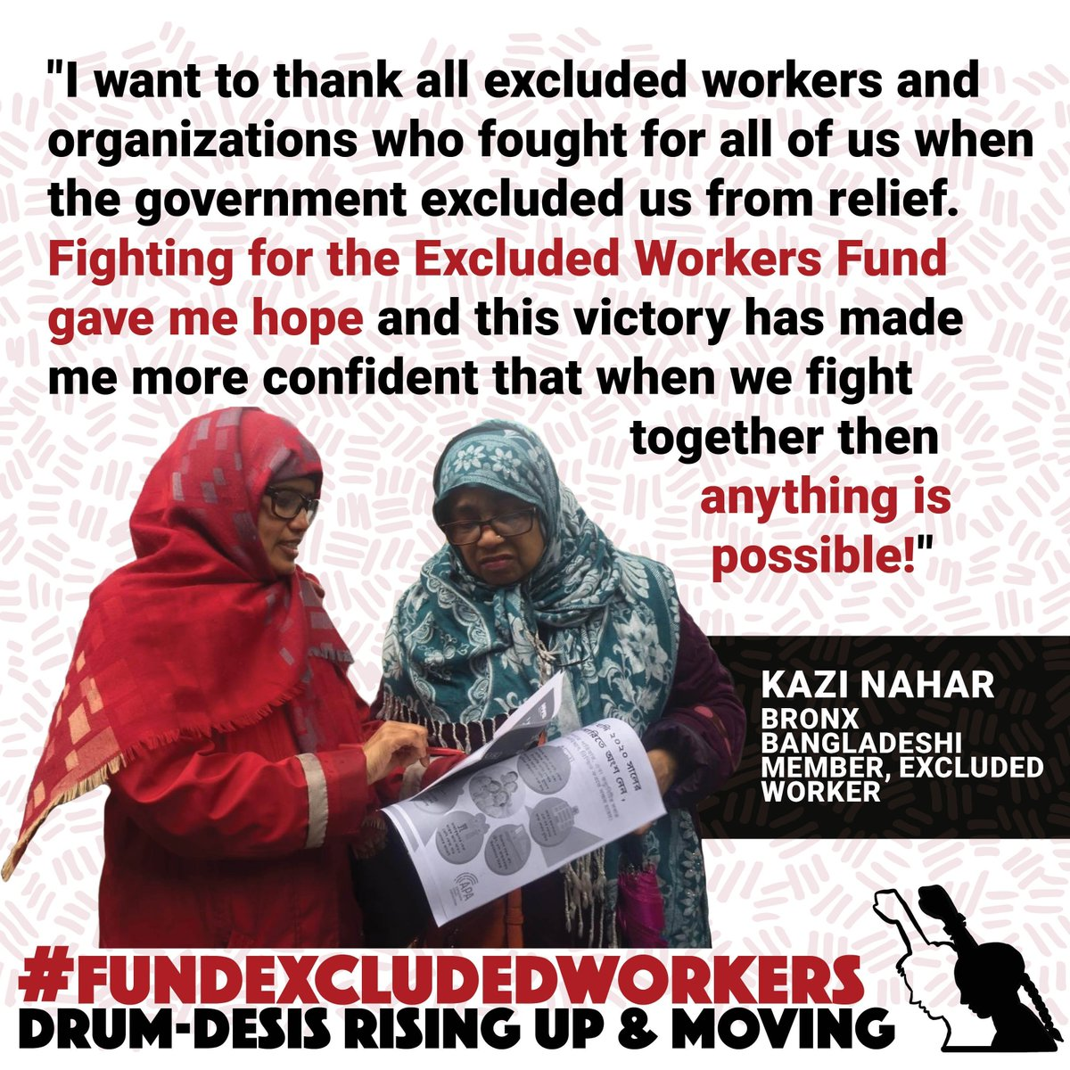 When we fight together then anything is possible! @DesisRisingUps Bronx member Kazi Nahar reflecting on organizing for + winning the #FundExcludedWorkers campaign. This is a big win we celebrate with all working class + excluded workers + orgs. Heres to us #BuildingPower!!