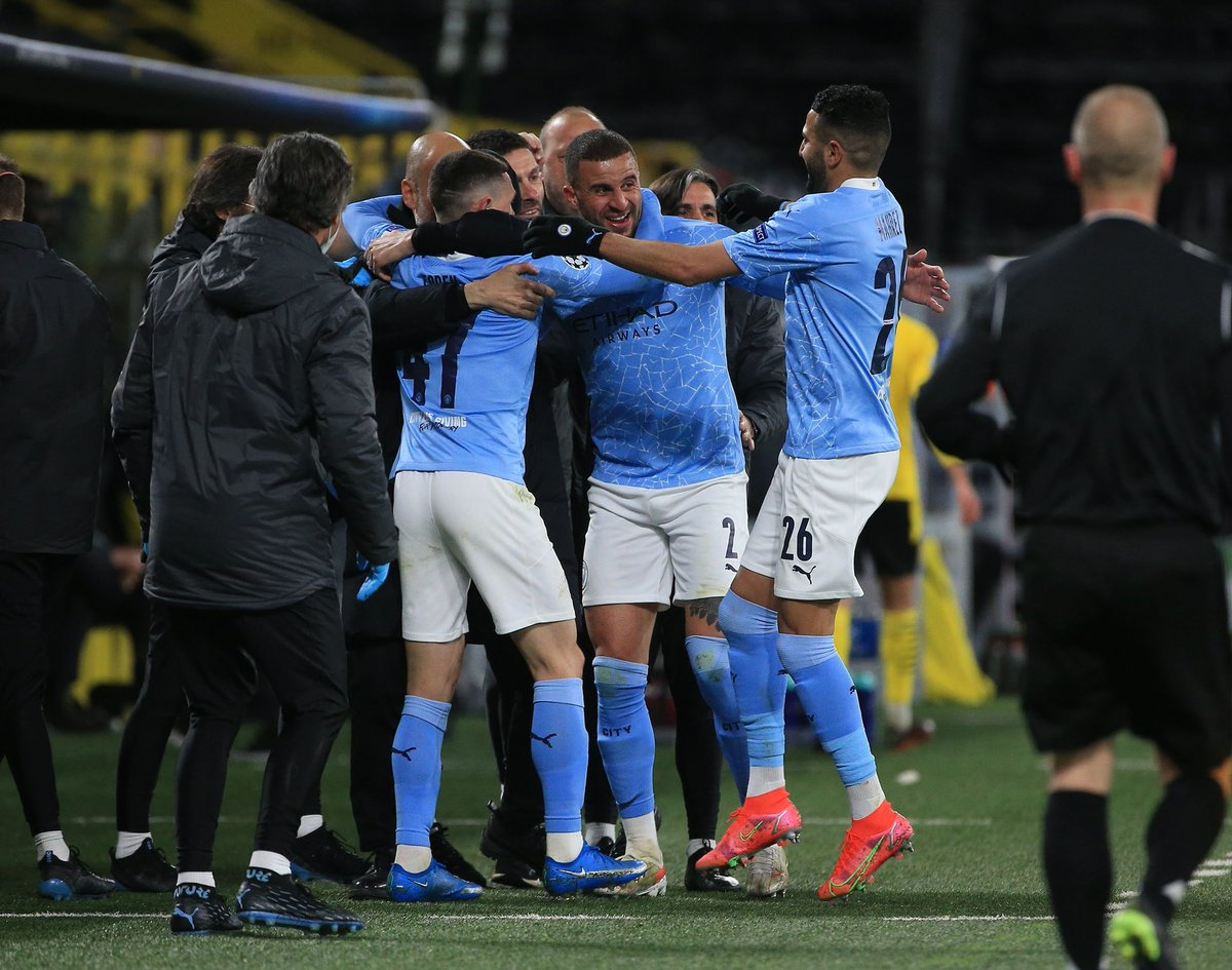 SEMI FINALS 💪  So proud of this @mancity team tonight, showed great spirit to turn the game around.   Can't get ahead of ourselves it's a packed schedule ahead of us, one game at a time.  💙  #mancity #championsleague https://t.co/SXCxwC7b8r
