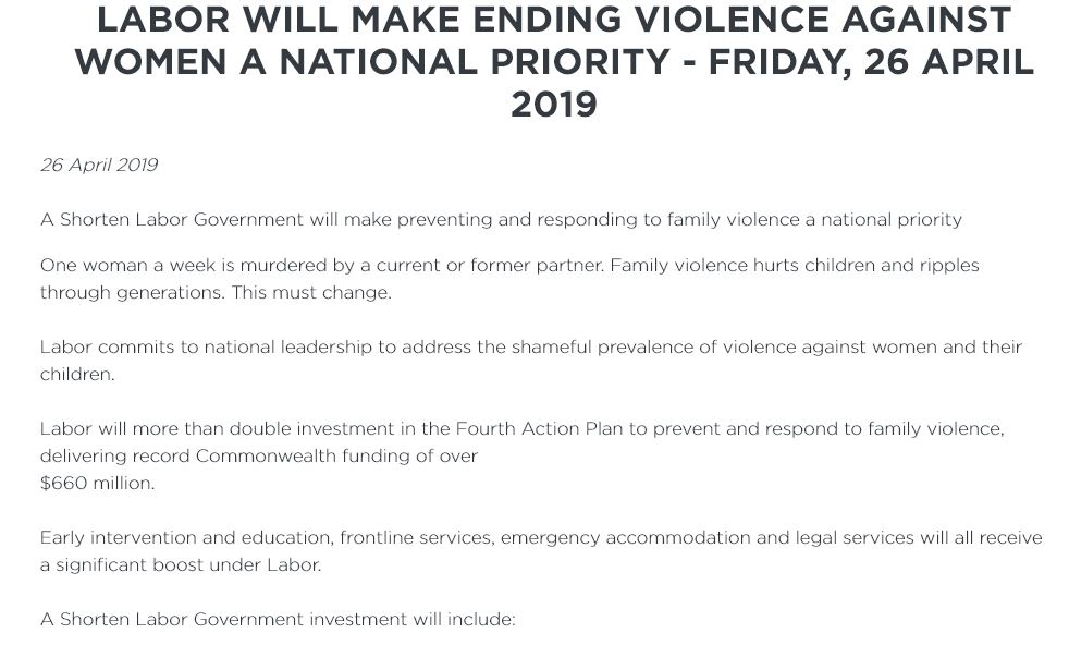 @JaneCaro 26/4/2019 A Shorten Labor Govt will make preventing & responding to family violence a national priority  Labor will more than double investment in the 4th Action Plan to prevent/respond to family violence, delivering record Fed funding of over $660 million https://t.co/73Lt1kQB83 https://t.co/GIQkU3X4J4