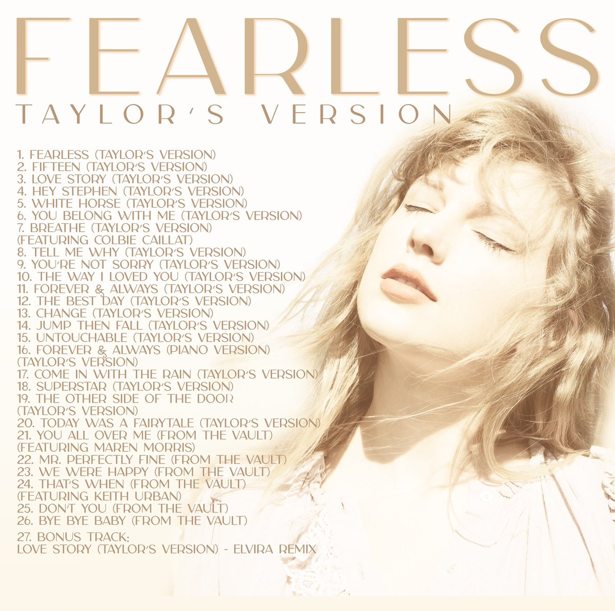 """Taylor Swift on Twitter: """"You cracked the codes and guessed all the From  The Vault titles. 👏👏👏 Here's the full track list, my friends.… """""""