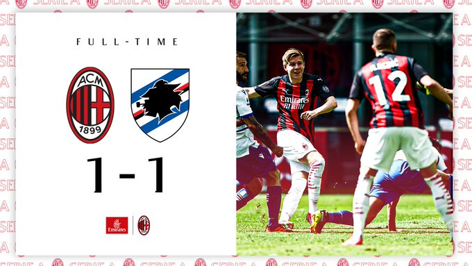Skor akhir AC Milan 1-1 Sampdoria