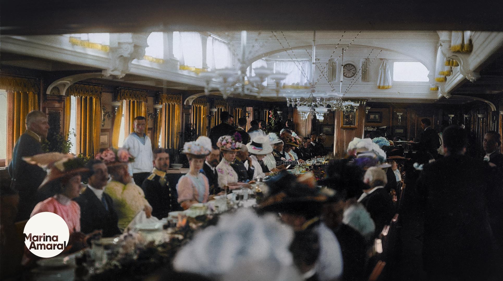"""Вручную раскрашенная фотка приёма на яхте """"Штандарт"""" во время визита в бриташку в 1909 году"""