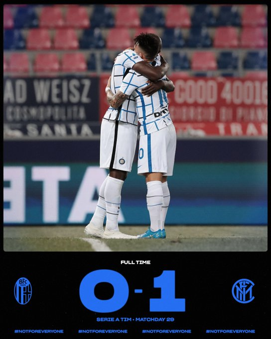 Skor akhir Bologna 0-1 Inter Milan