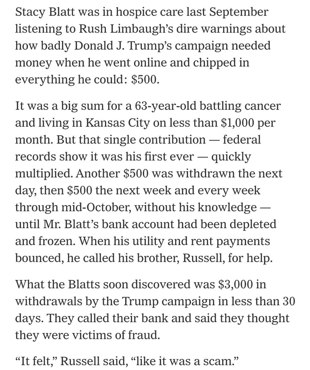 You're battling cancer, living on a $1,000 a month, but you decide to give $500 to Trump.  Turns out, because of intentionally deceptive practices, you actually gave $3,000. https://t.co/2I9zFfCaMz