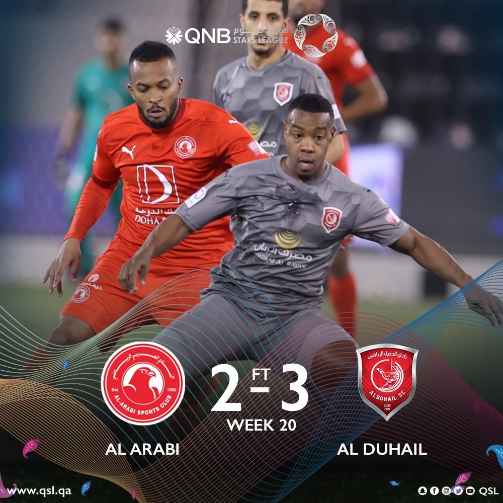 الدحيل يفوز على العربي بـ 3 أهداف مقابل هدفين ضمن مباريات الأسبوع الـ 20 من دوري نجوم QNB