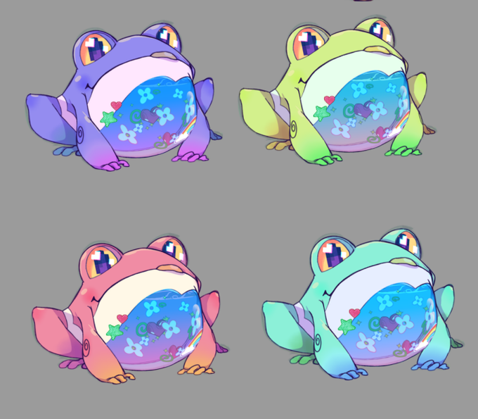 four different color iterations of Samar's Froggo familiarZ