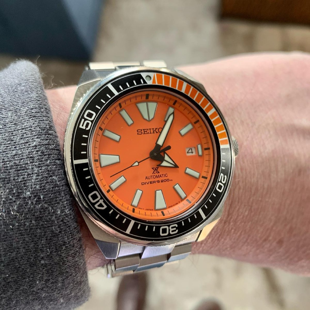 #📷 @sliceydicey75 👈 Thanks! #Repost #strapcodefeaturing⁠  ⌚Band ref : https://t.co/S1i7po6EHR @strapcode #strapcodewatchbands    I only except the color orange in my life it's on a watch or in juice form. The Samurai on a Strapcode Hexad bracelet.   #seikosamurai #SRPB97 https://t.co/enKZwnrrC9