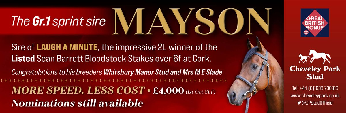 🏆 more black-type success for the progeny of @CPStudOfficial's MAYSON 🏆  LAUGH A MINUTE wins the LR Sean Barrett  Bloodstock Stakes @corkracecourse 👏  Cheveley Park wishes to congratulate breeders @WhitsburyManor & Mrs ME Slade 🍾