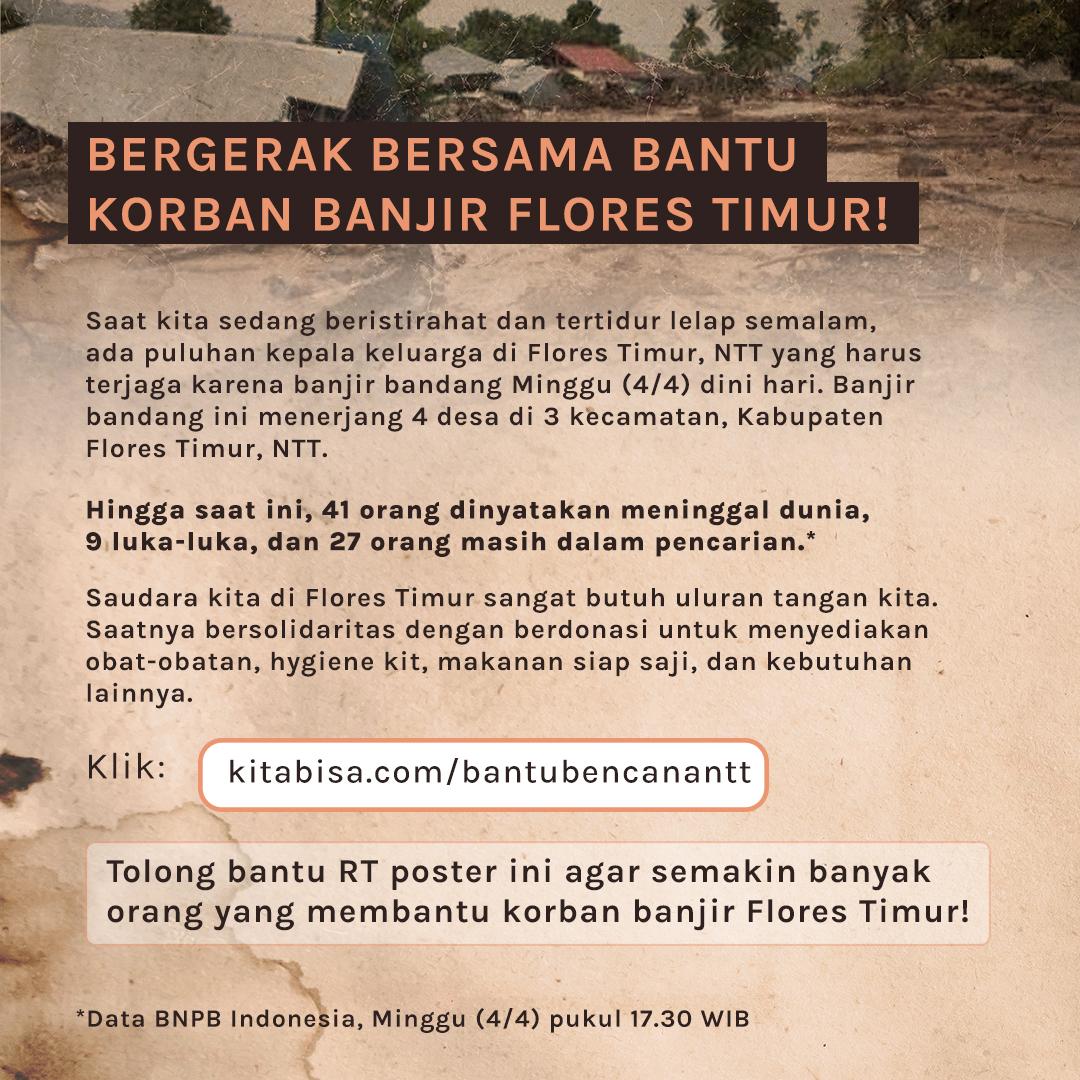#prayforNTT  Temen-temen, aku minta perhatiannya buat bantu korban banjir bandang di Flores Timur, NTT.  Caranya: 1. RT/Likes poster ini biar infonya makin tersebar 2. Donasi di https://t.co/u42sO6NhFi  Saatnya kita bersatu untuk beri pertolongan pertama bagi saudara kita di NTT. https://t.co/ACcH1bRWYg