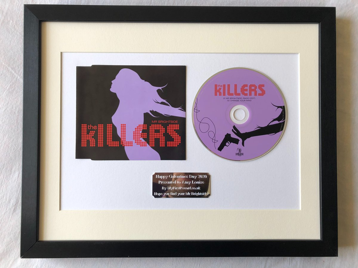 To celebrate #TheKillers #MrBrightside setting a new chart record, after spending 260 weeks (five whole years) in the UKs Top 100, we are hanging the CD single in the #RockandRollHallofFrame picture gallery @ MyFirstRecord.co.uk Manor