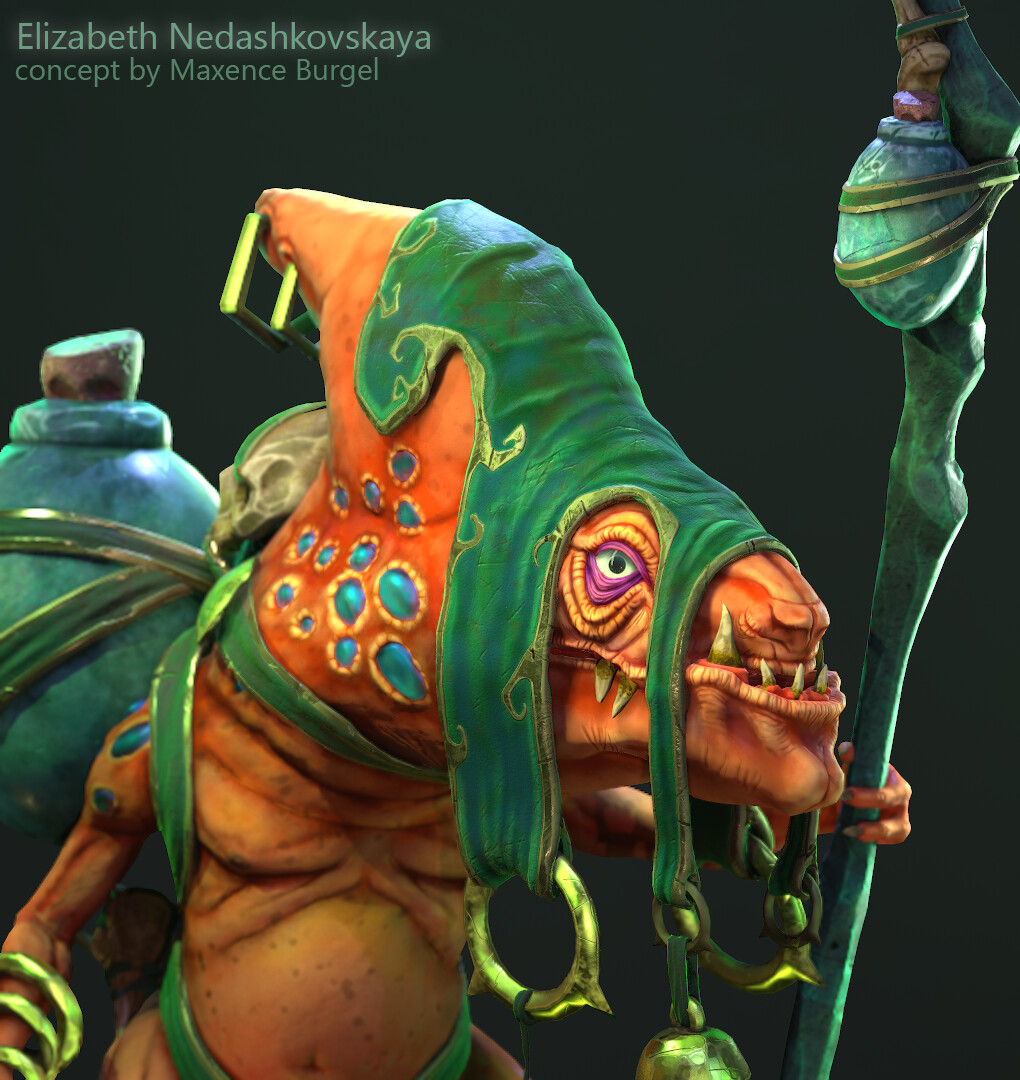 Liz Nedashkovskaya shared an extensive breakdown of her project Lizard Witch Doctor, talking about the workflow and setting up the lighting: 80.lv/articles/lizar… #maya #zbrush #substancepainter #substancedesigner #substance3d #madewithsubstance #characterart #characterdesign