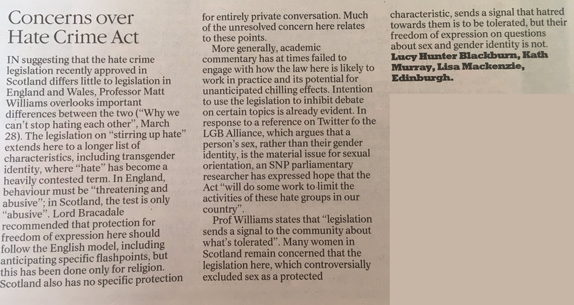 RT @mbmpolicy: We have a letter in today's @heraldscotland about the Hate Crime and Public Order (Scotland )Act. https://t.co/OAkThPQ4m2