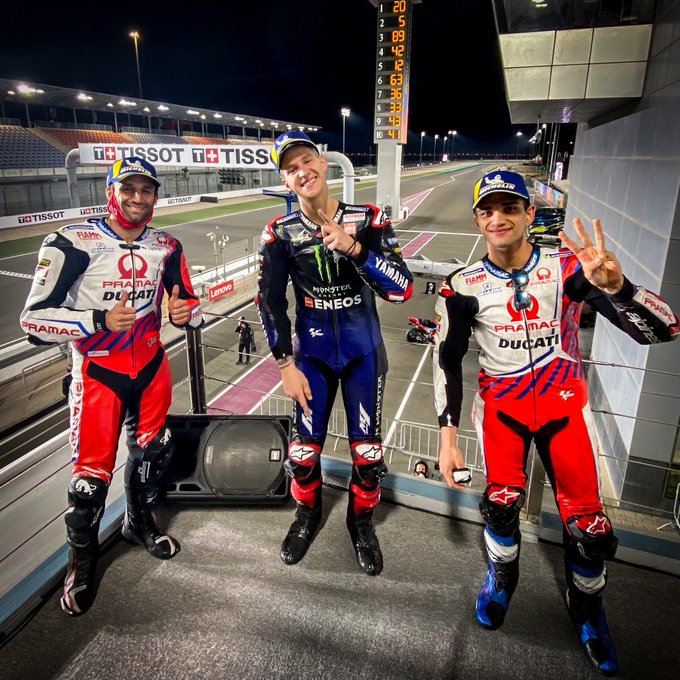 Fabio Quartararo raih podium 1, disusul Johann Zarco ( kiri/2 ) dan Jorge Martin ( kanan/3 )