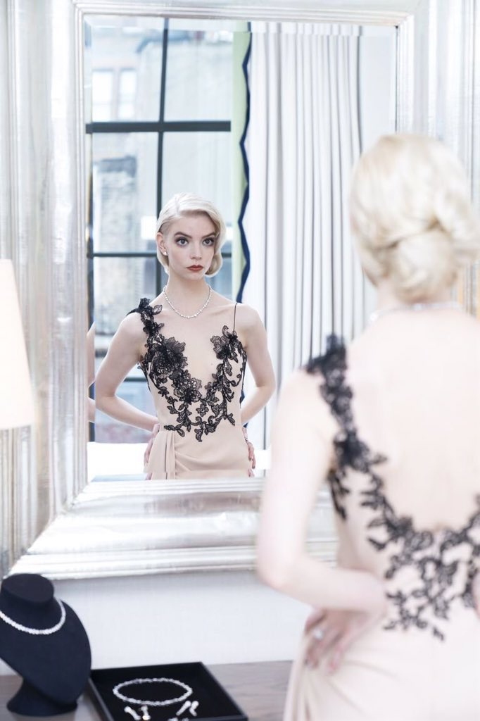"""the holy """"anya taylor joy staring into a mirror while getting ready to attend an awards show"""" trinity"""
