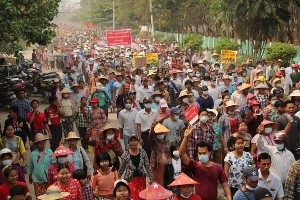 No matter the growing death toll, protests against Myanmar's junta keep happening daily in diverse parts of the country #WhatsHappeningInMyanmar https://t.co/2EFJiHkARg https://t.co/pPQOAxYDoZ
