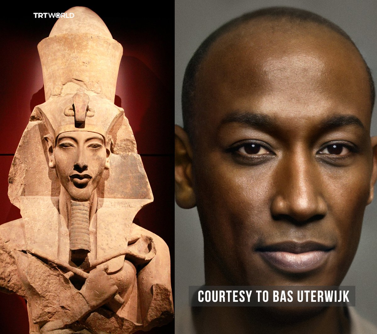 trtworld: Have you ever imagined how Egyptian King Akhenaten and Queen Nefertiti would look like today?   Dutch photographer Bas Uterwijk converts the old carvings and engravings into photographs by using artificial intelligence