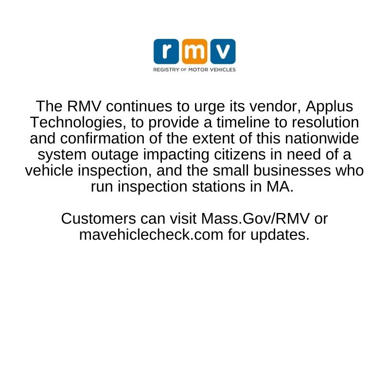 RMV may resume inspections Tuesday, Apr 6