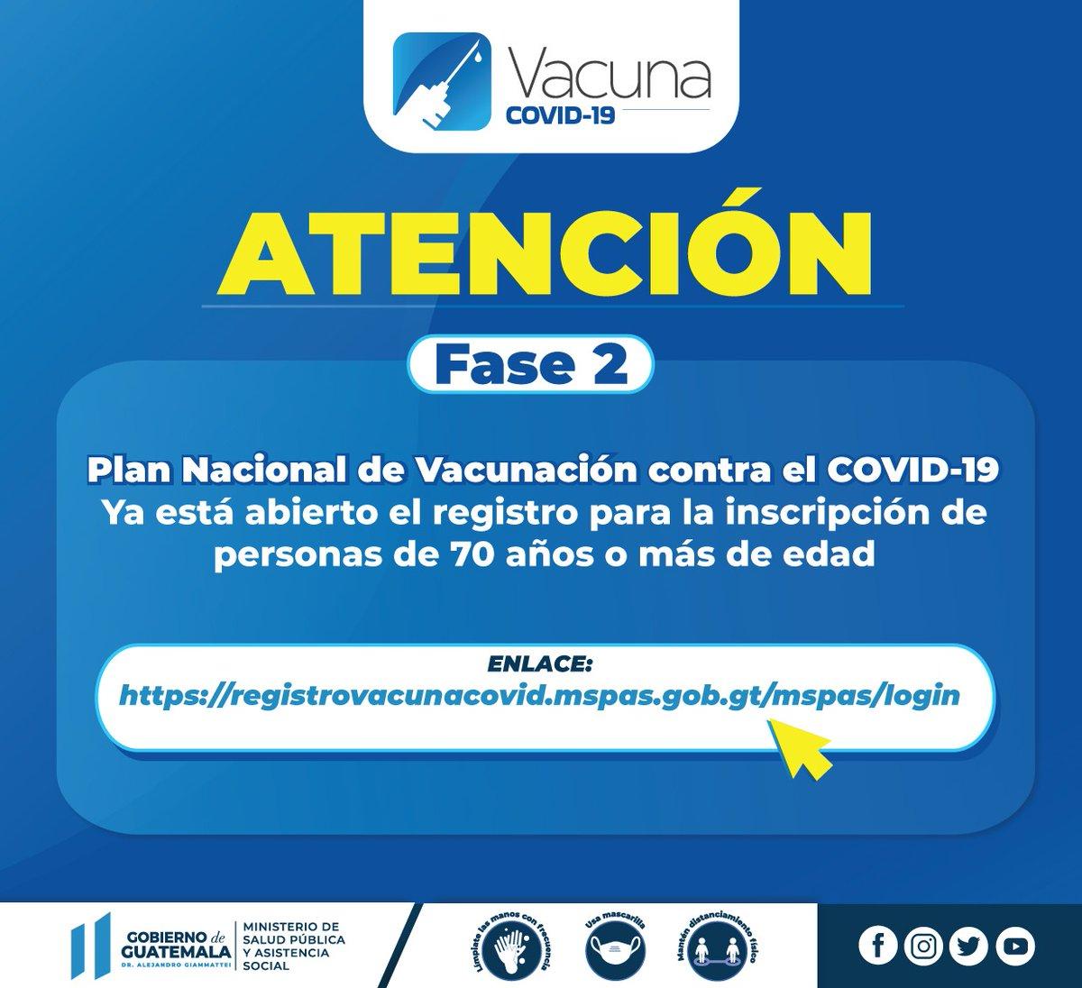 """Ministerio de Salud Pública on Twitter: """"⚠️ATENCIÓN⚠️ Fase 2   #PlanVacunaCOVID19 Si tiene 70 años o más de edad regístrese aquí para programar su vacunación contra el #COVID19. https://t.co/iin4LFas0r… https://t.co/fmoaCkfq1I"""""""
