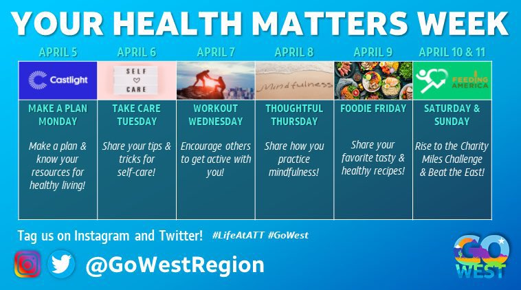 📣Today is the first day of #YourHealthMatters Week!  You can start #MakeAPlanMonday off by downloading the @CharityMiles app and joining the @gowestregion vs @theeastregion challenge.   #LifeAtATT