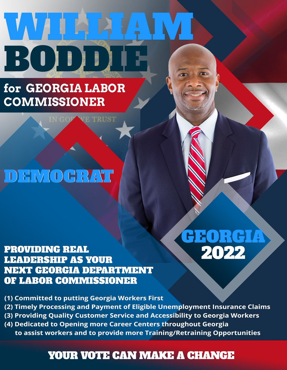 I'm officially announcing today that I will be seeking election for Commissioner of the Georgia Department of Labor in 2022! I will provide real leadership as your Next GA Labor Commissioner. I humbly ask for your vote & support in 2022. You can donate at .