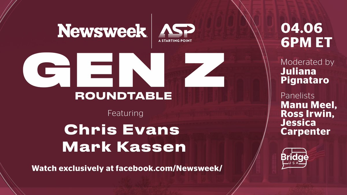 Join us tomorrow for the Gen Z Roundtable with @ASP, @BridgeUSA_, and @ChrisEvans & @MarkKassen. Learn more about the issues that matter to #GenZ including gun control, school safety, mental health, & more. https://t.co/VxuAP87isi