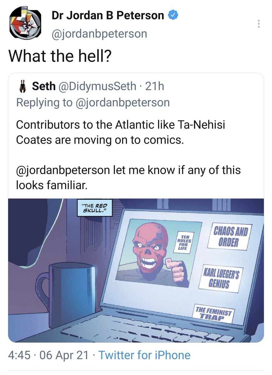 Jordan Peterson has just discovered that Captain America fights fascism  Cap's current author has given the Red Skull some a familiar characteristics, and its driving Peterson and his fans fucking insane  Ta-Nehisi Coates we applaud you https://t.co/bRo8KjvlOG