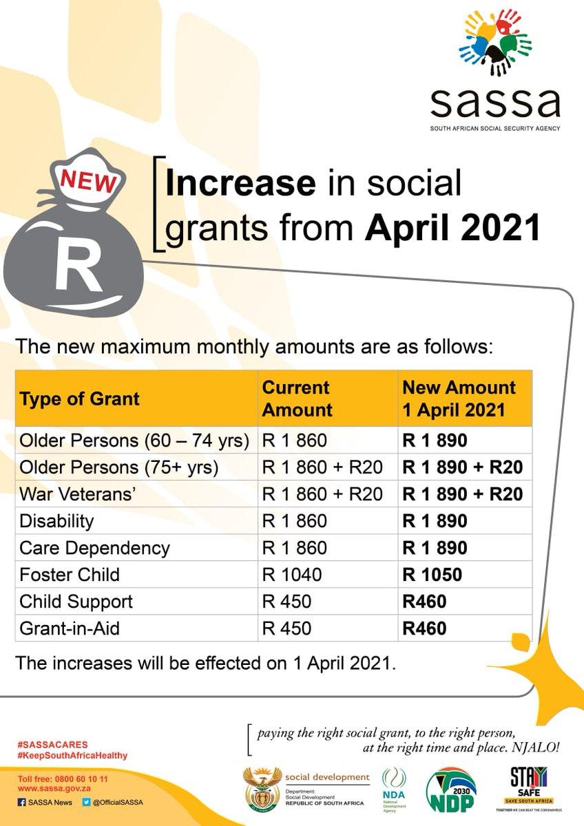 Sassa On Twitter Social Grants Increased From April 2021 Sassacares The Dsd Nda Rsa Governmentza Gcismedia