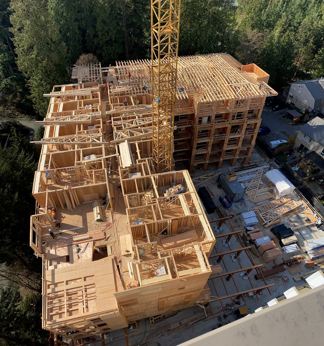 test Twitter Media - The Timber work on our North Kiwanis project is coming along nicely. The 6 story building is now framed up to  L-6 and roof trusses have started. The Tower Renovation is complete and almost ready for move in. #KiwanisNorthShoreHousingSociety https://t.co/HZAsR4iWNx