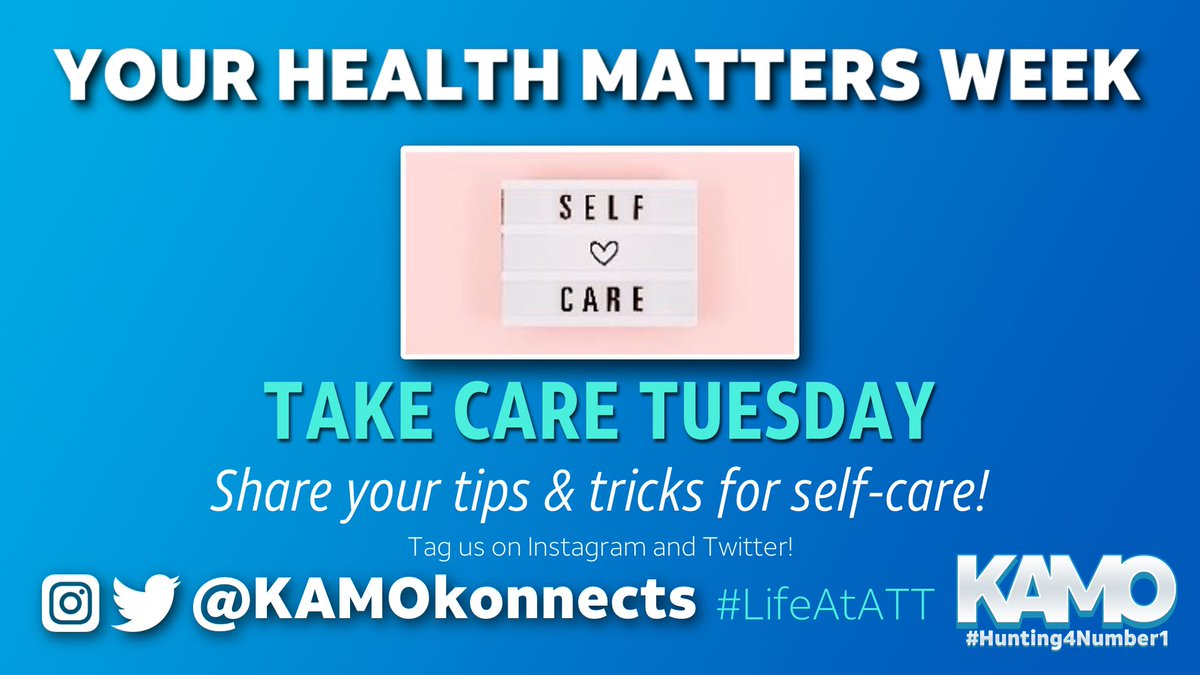 #YourHealthMattersWeek continues with #TakeCareTuesday!  Share your tips & tricks for self-care and be sure to tag us.  #LifeAtATT