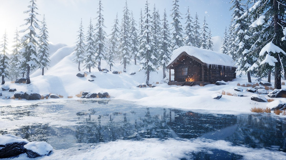 Katarina Persson shared an extensive breakdown of the Winter Cabin project, discussed the workflow, and explained how to create an Aurora Borealis shader: 80.lv/articles/creat… #substancepainter #substancedesigner #unrealengine #UE4 #maya #zbrush #gamedev #indiedev #3dart