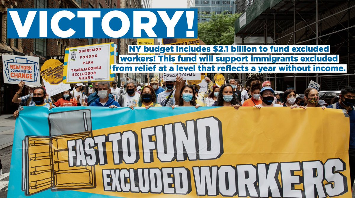 VICTORY! NY budget includes $2.1 billion to #FundExcludedWorkers! This fund will support immigrants excluded from relief at a level that reflects a year without income. GRACIAS @FEWCoalition allies & the fierce hunger strikers who put their bodies on the line for 23 days!