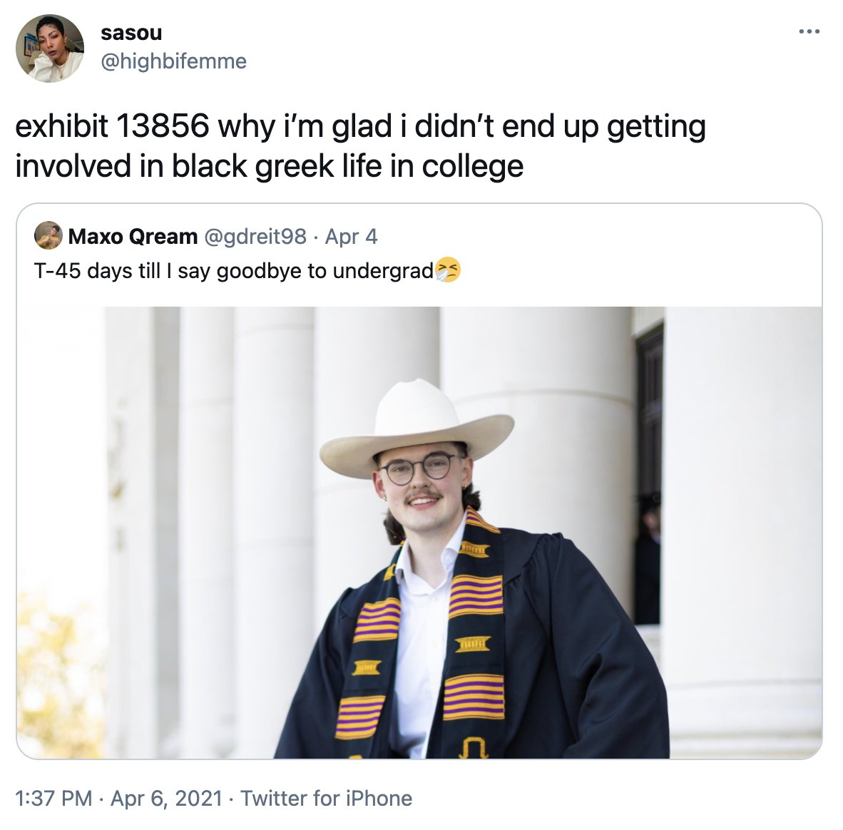 So lemme get this straight: - a white man gets his letters in a Black greek org - a Black woman states her personal opinion  - he tells her to shut the fuck up Did I get that right? So because Maxo Qream gets to take up space in a Black org, he gets to insult Black women?