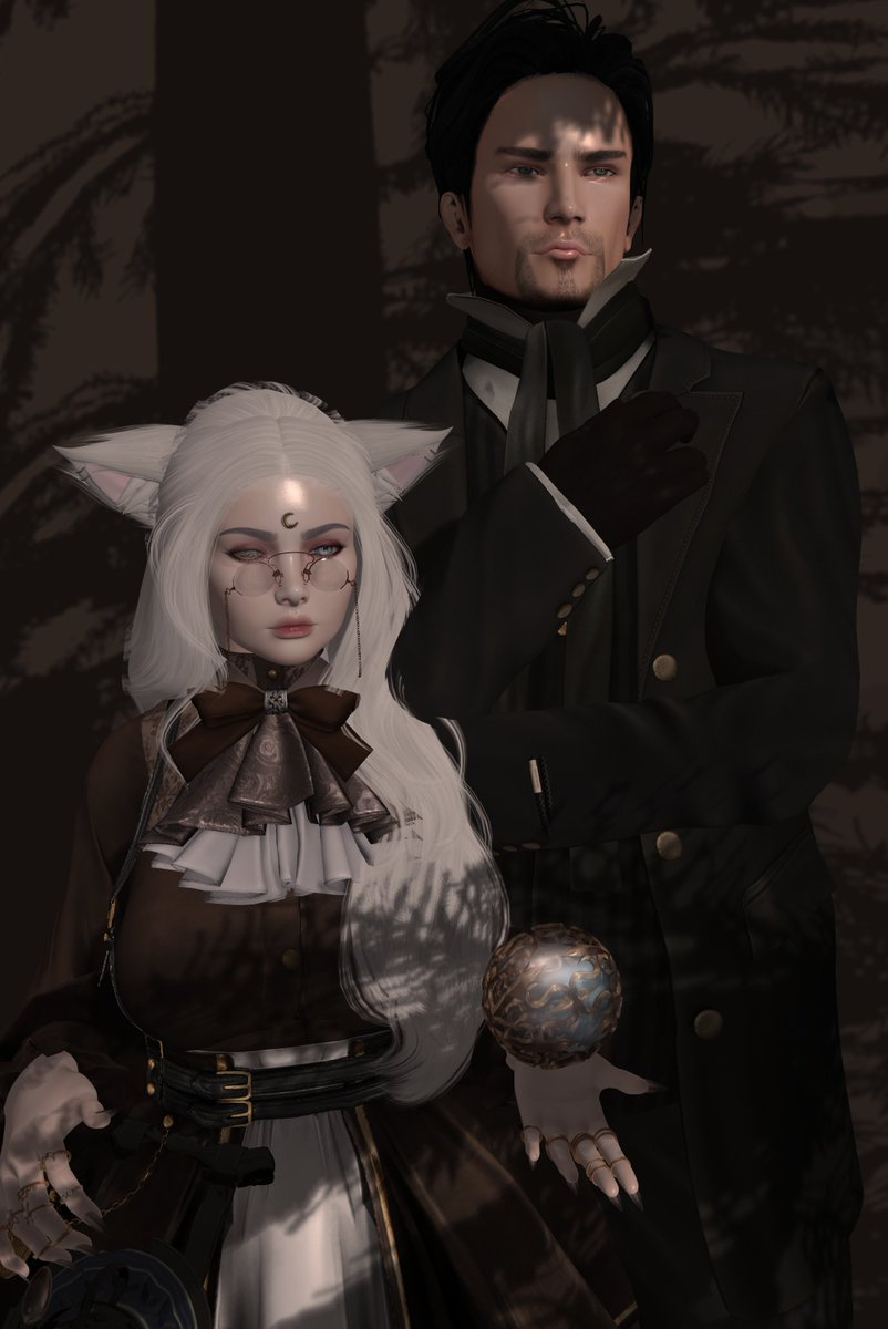 - Another humanoid pic, AHHHH ;A; But this time with my bb! : D   He rarely - IF. EVER. - takes pictures with me, but he really wanted to this time, so he gussied up for a quick shot before work 💕✨  🏷️ #Steampunk|#secondlife|#fantasy|#LovePics