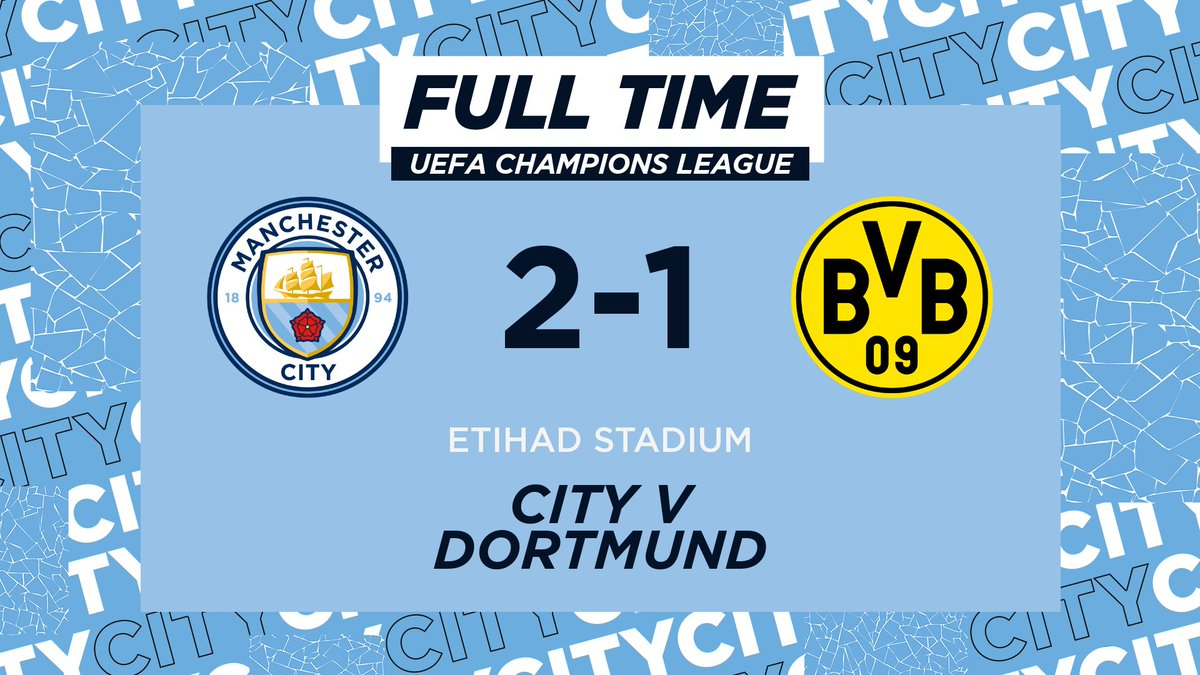 FULL TIME   After all that, were taking a lead to Germany! 💙 🔵 2-1 🟡 #ManCity   mancity.com