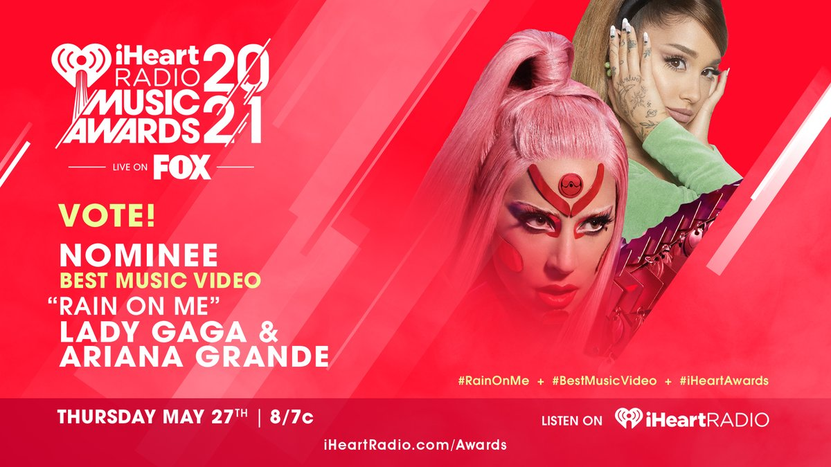📹 @ladygaga x @ArianaGrande 📹  Vote using these hashtags: #RainOnMe #BestMusicVideo #iHeartAwards And vote on: https://t.co/aPueslpaIw https://t.co/JNOFlGov40