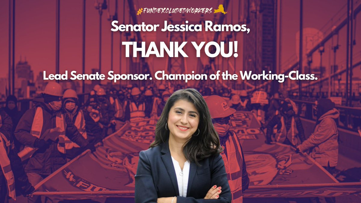Senator @jessicaramos, THANK YOU! As lead sponsor of #FundExcludedWorkers in the Senate, Sen. Ramos relentless and valiant leadership makes history: The NY State budget adopts the legislation to establish a first-in-the-nation $2.1 Billion Excluded Workers Fund.