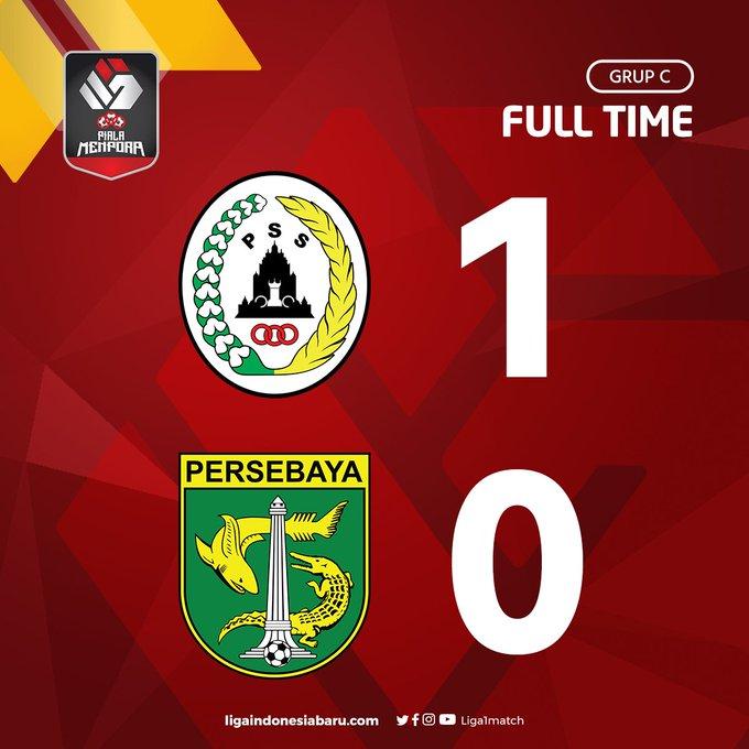 Skor akhir PS Sleman 1-0 Persebaya Surabaya