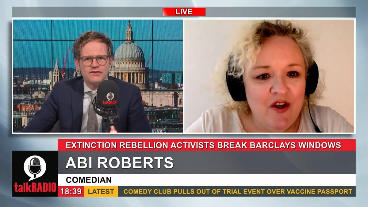 Extinction Rebellion activists have been arrested after smashing windows at Barclays HQ in London. Comedian Abi Roberts: They looked like they were on an outing from The Guardian to a National Trust property. @mrmarkdolan | @abiroberts