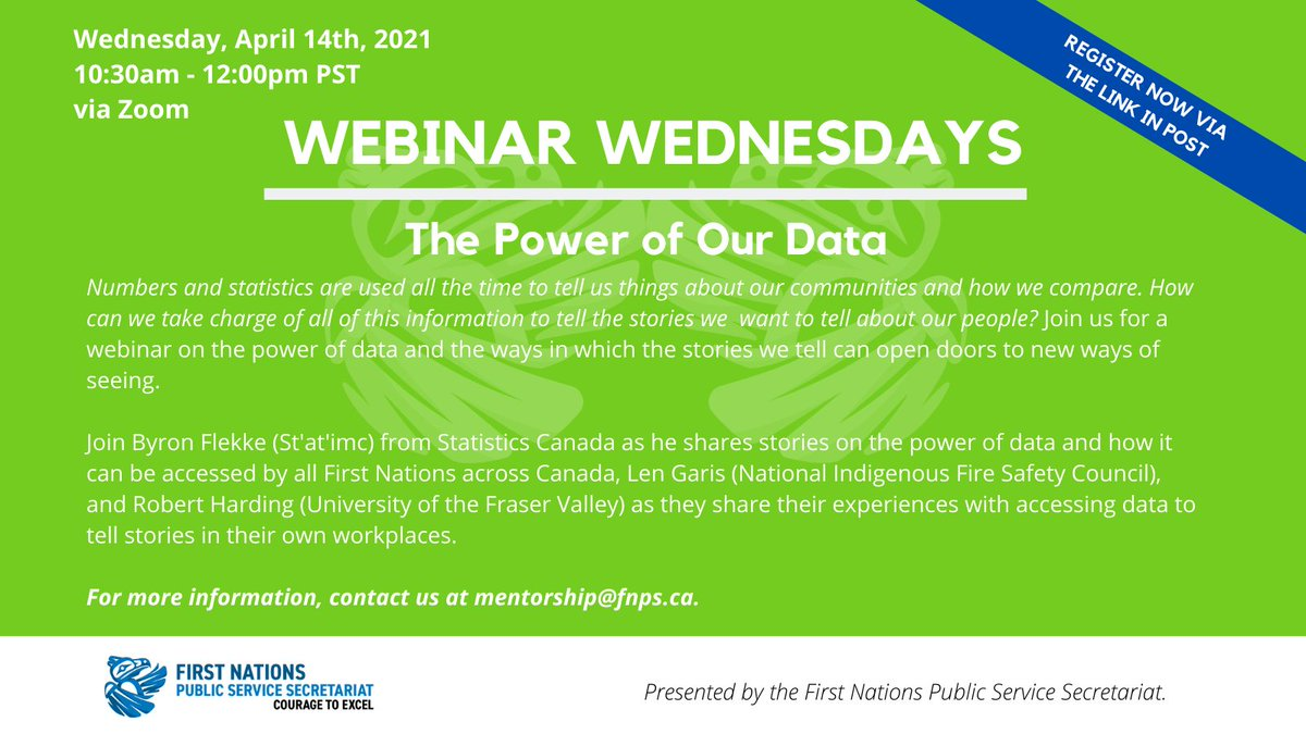 "#Reminder: don't forget to register for our upcoming #WebinarWednesdays event ""The Power of Our Data""  Date: Wednesday, April 14th, 2021 Time: 10:30am - 12:00pm PST Cost: Free  Click here to register: https://t.co/UzOzT51dMb  #FNPSS #JoinUs #RegisterNow #BCFirstNations"