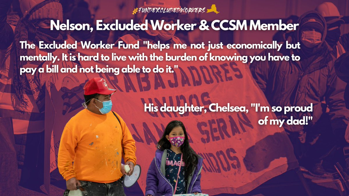 Nelson, @CCSMNY member, survived one year without any govt aid since the onset of the pandemic. Hes been fighting to #FundExcludedWorkers ever since. Today, Nelson is victorious - the first-in-the-nation Excluded Workers Fund will distribute the aid that workers are owed.