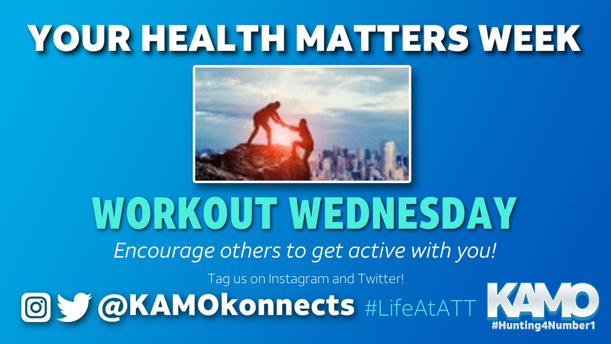 #YourHealthMattersWeek continues with #WorkoutWednesday  Encourage those around you to get out, get moving and be LOUD & PROUD on social!  #LifeAtATT