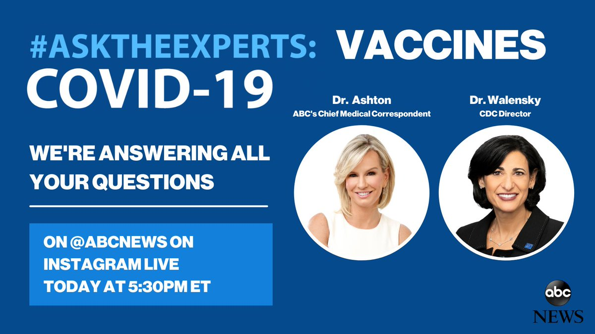 I'm looking forward to joining @abcnews @DrJAshton for an #AskTheExperts Instagram Live! We're talking #COVID19 vaccines and I hope you'll join us over on the CDC Instagram page today at 5:30pm ET. https://t.co/b7cNy0wD6g https://t.co/cr5szdTC6D