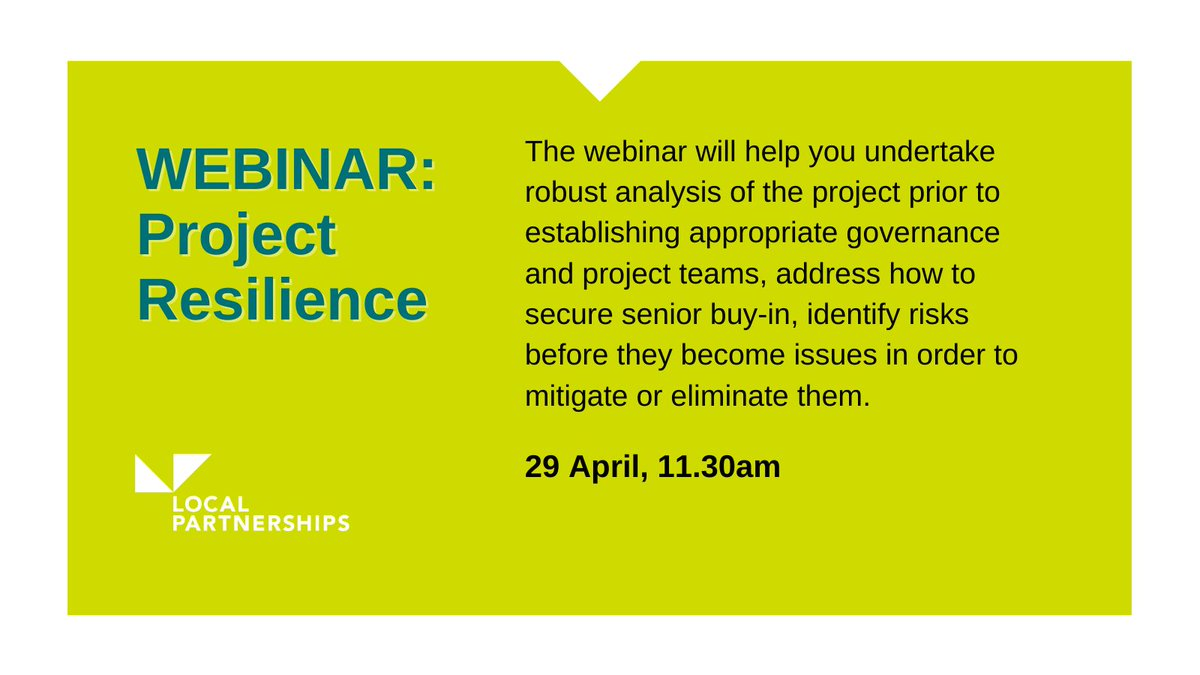 To ensure the successful delivery of new projects or programmes it's essential to review council standard systems & adjust processes to reflect specific needs at the outset of the project to effectively manage risk  Join us: Project Resilience webinar  https://t.co/viwqWe6lsq